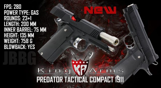 KING ARMS PREDATOR TACTICAL SHRIKE 1911 RAIL COMPACT AIRSOFT PISTOL