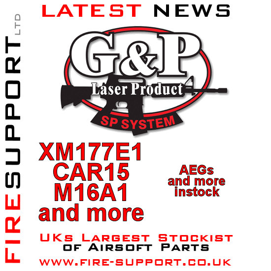Firesupport G&G AEG and parts restock CAR15 XM177E1 and MA16A1